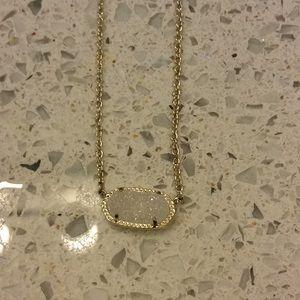 Kendra Scott white gold Drusy necklace